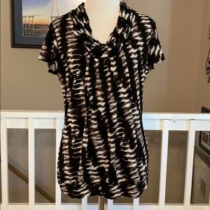 Worthington black/white tie dye cowl neck blouse